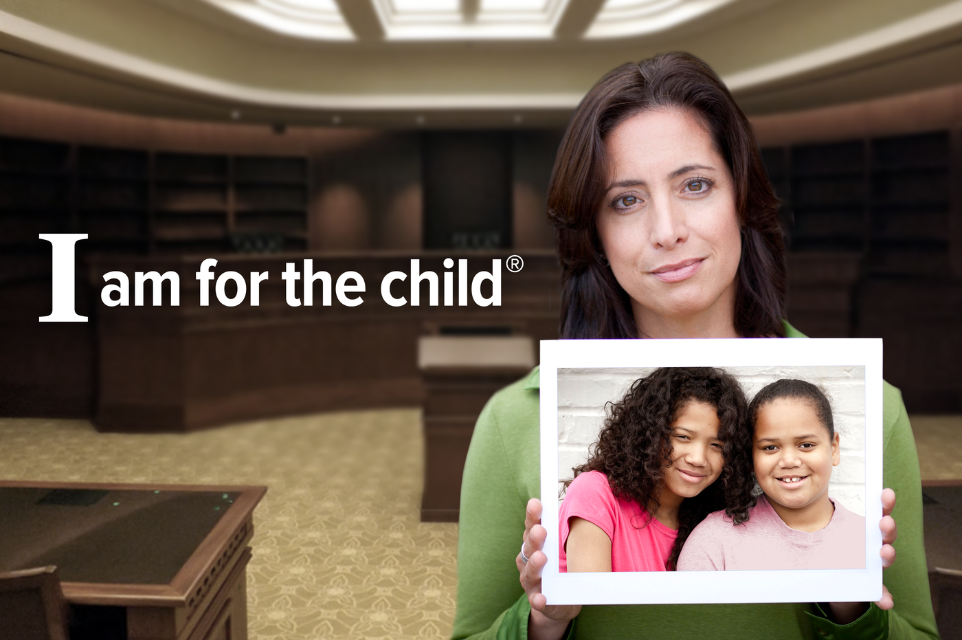 woman holding picture of two girls - I am for the child